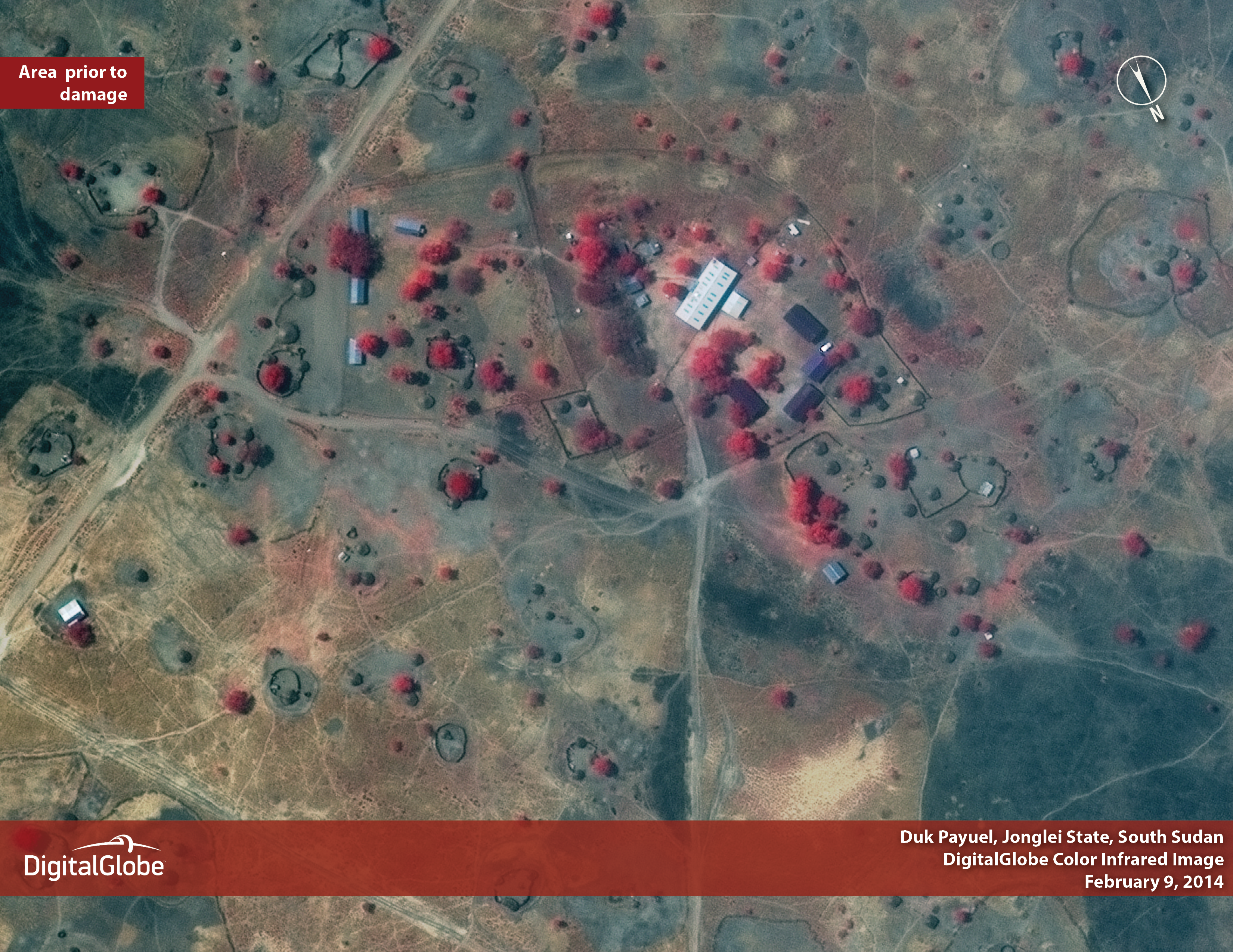 Image 2: Though the total number of damaged or destroyed homes in Duk is unknown, at least 10 huts were burned in the area reviewed by DigitalGlobe analysts, who also identified buildings that had been looted between February 9, 2014 and March 5, 2014.