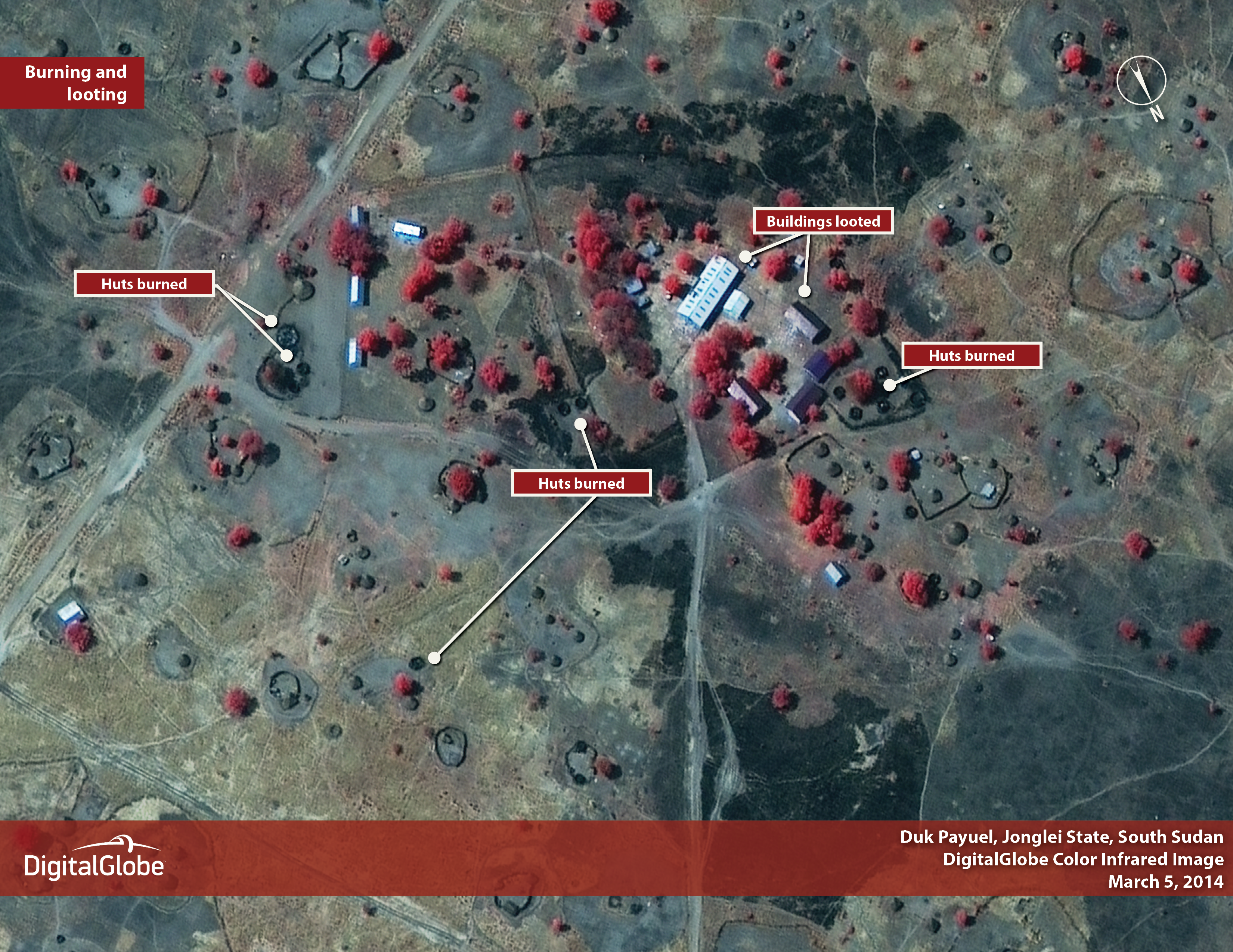 IMAGE 3: Though the total number of damaged or destroyed homes in Duk is unknown, at least 10 huts were burned in the area reviewed by DigitalGlobe analysts, who also identified buildings that had been looted between February 9, 2014 and March 5, 2014.