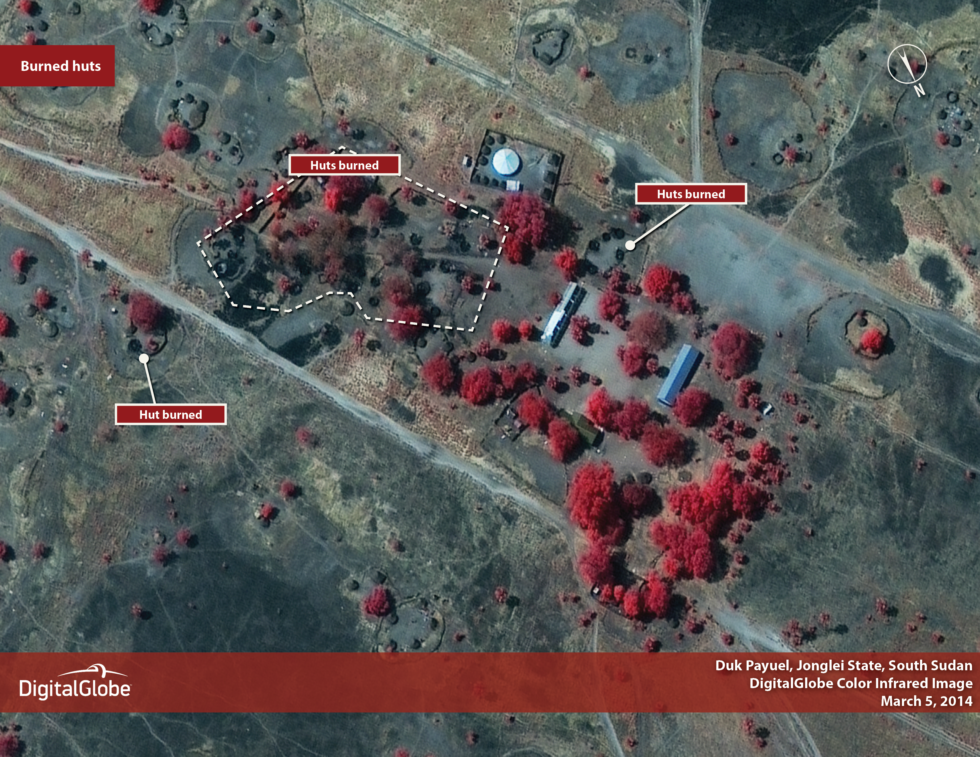 IMAGES 4 and 5: Destruction and looting in Duk Payeul since February 9, 2014.