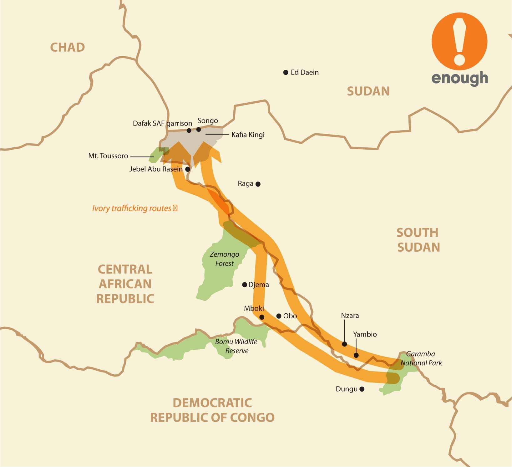 Map shows approximate route poachers take from kill sites in Garamba National Park, DRC, to trading depots in Kafia Kingi