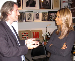 John Prendergast and Iman talk during an interview for the Enough Project