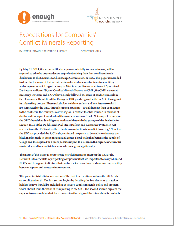 Expectations for Companies' Conflict Minerals Reporting