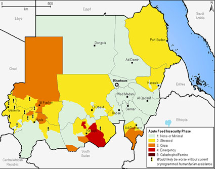 Sudan food insecurity map