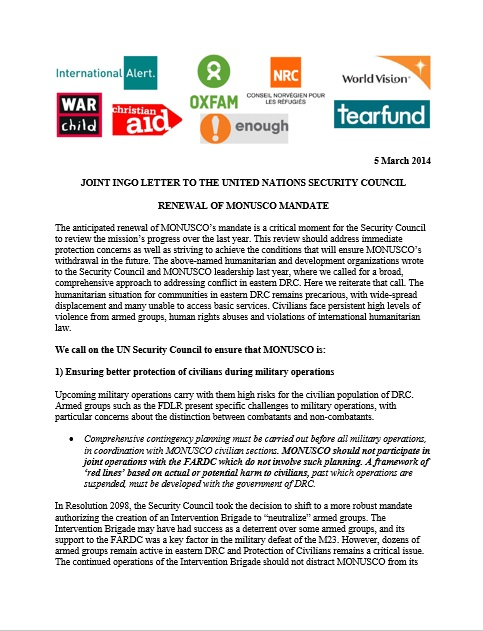 Enough, NGO Coalition Letter to UN on Congo Peacekeeping Mission