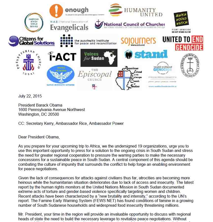 Open NGO Letter to President Obama on South Sudan