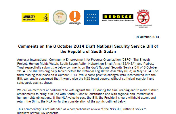 Enough and partners call for veto of South Sudan security bill
