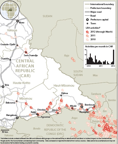 March 2012 OCHA map displaying LRA attacks in CAR since 2010