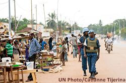 MINUSCA peacekeepers in PK5, Bangui. May 2015.