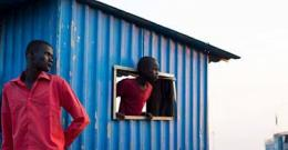 Displaced refugees look out in South Sudan