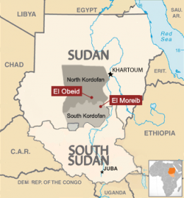 Map of Sudan with El Moreib and El Obeid