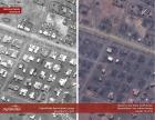 Satellite imagery secured on January 10 shows extensive destruction of huts, or