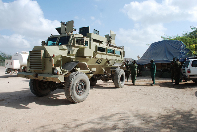 Armored personnel carriers used by the A.U. peacekeeping mission