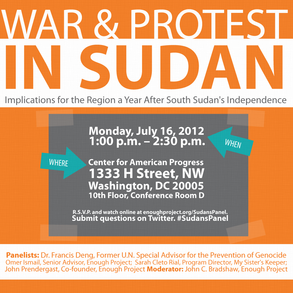 "Live-Stream ""War and Protest in Sudan,"" an Enough Project Panel Event"