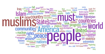 President Obama's Cairo Speech in a word cloud